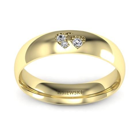 Obrączka z brylantami żółte złoto