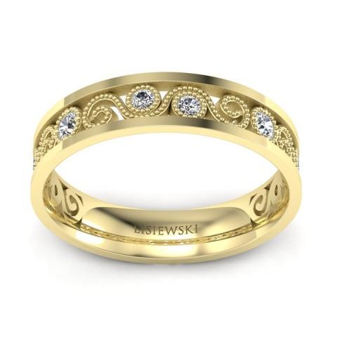 Obrączka z diamentami żółte złoto
