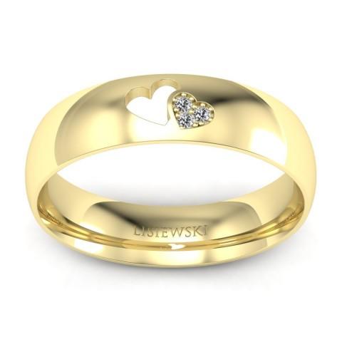 Złota obrączka z brylantami