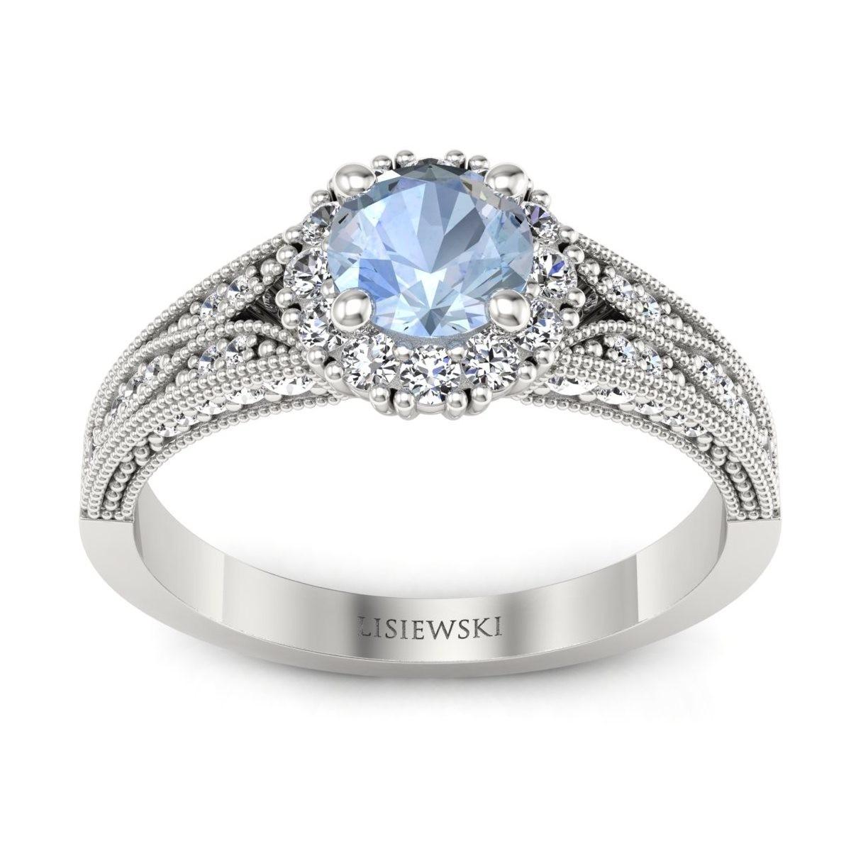 Eve - Pierścionek z akwamarynem i diamentami
