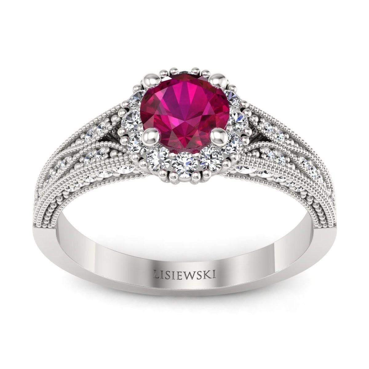 Eve - Pierścionek z rubinem i diamentami