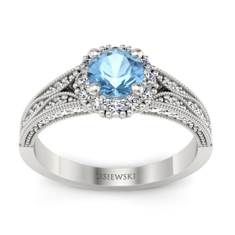 Eve - Pierścionek z topazem i diamentami