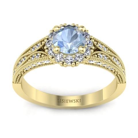 Eve - Pierścionek złoty z akwamarynem i diamentami