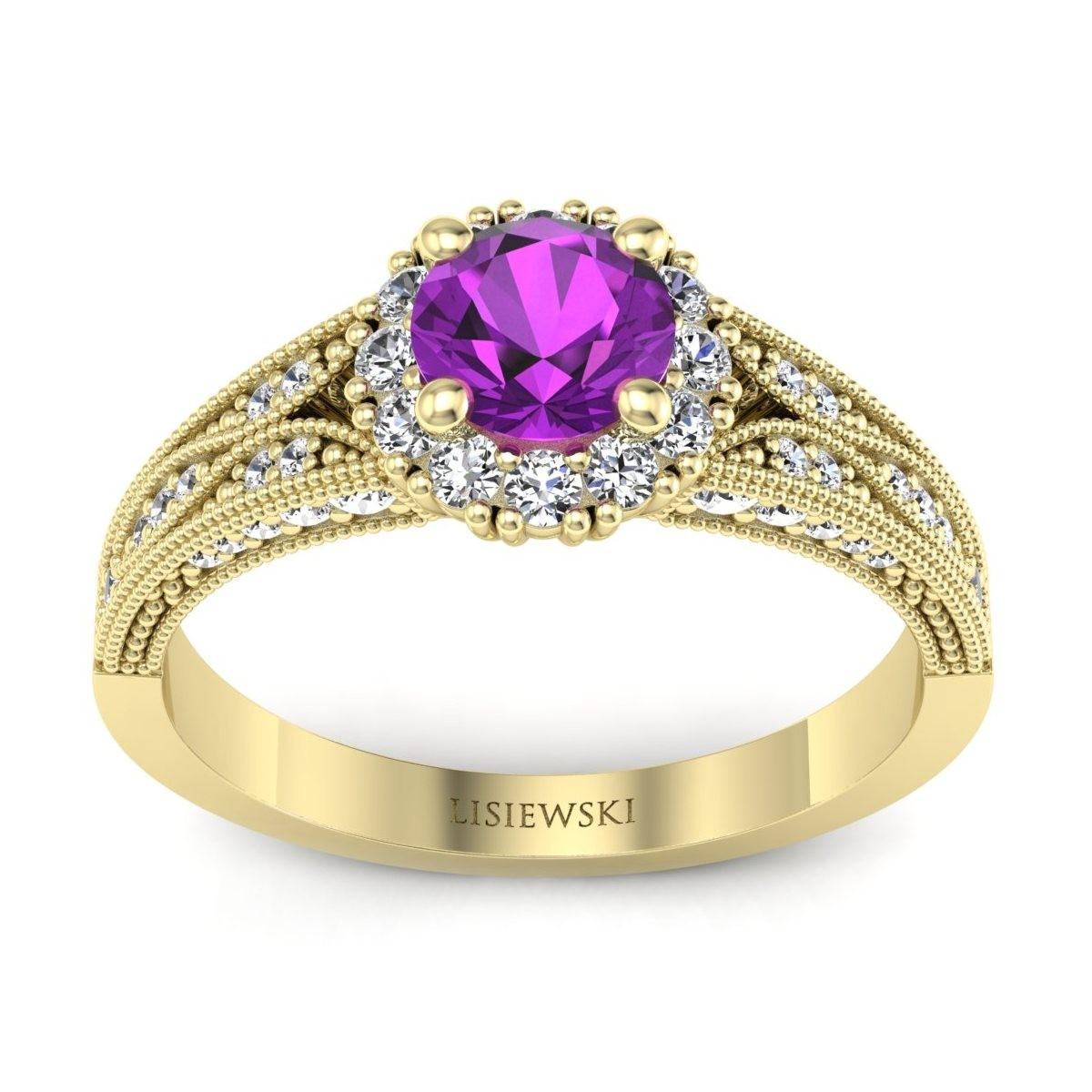 Eve - Złoty pierścionek z ametystem i diamentami