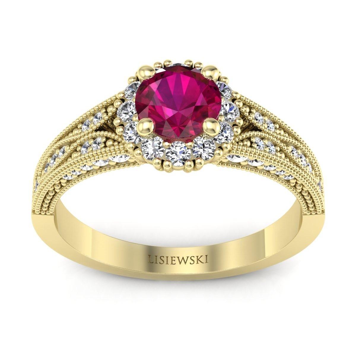 Eve - Złoty pierścionek z rubinem i diamentami
