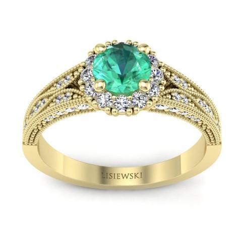 Eve - Złoty pierścionek ze szmaragdem i diamentami