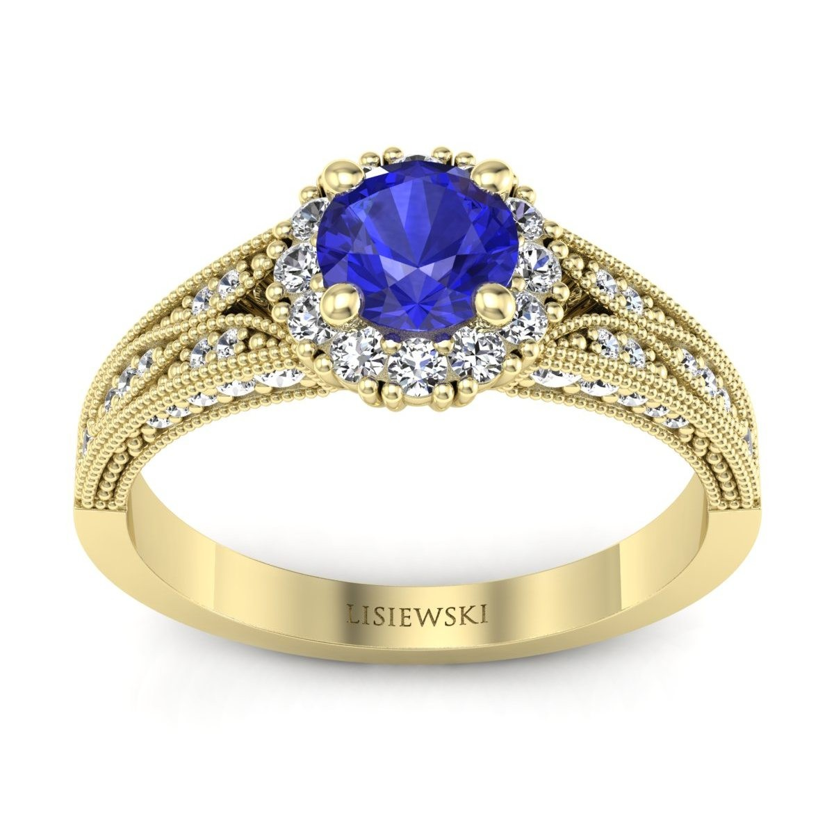 Eve - Złoty pierścionek z szafirem cejlońskim i diamentami
