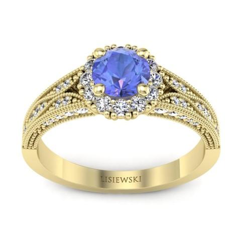 Eve - Złoty pierścionek z tanzanitem i diamentami