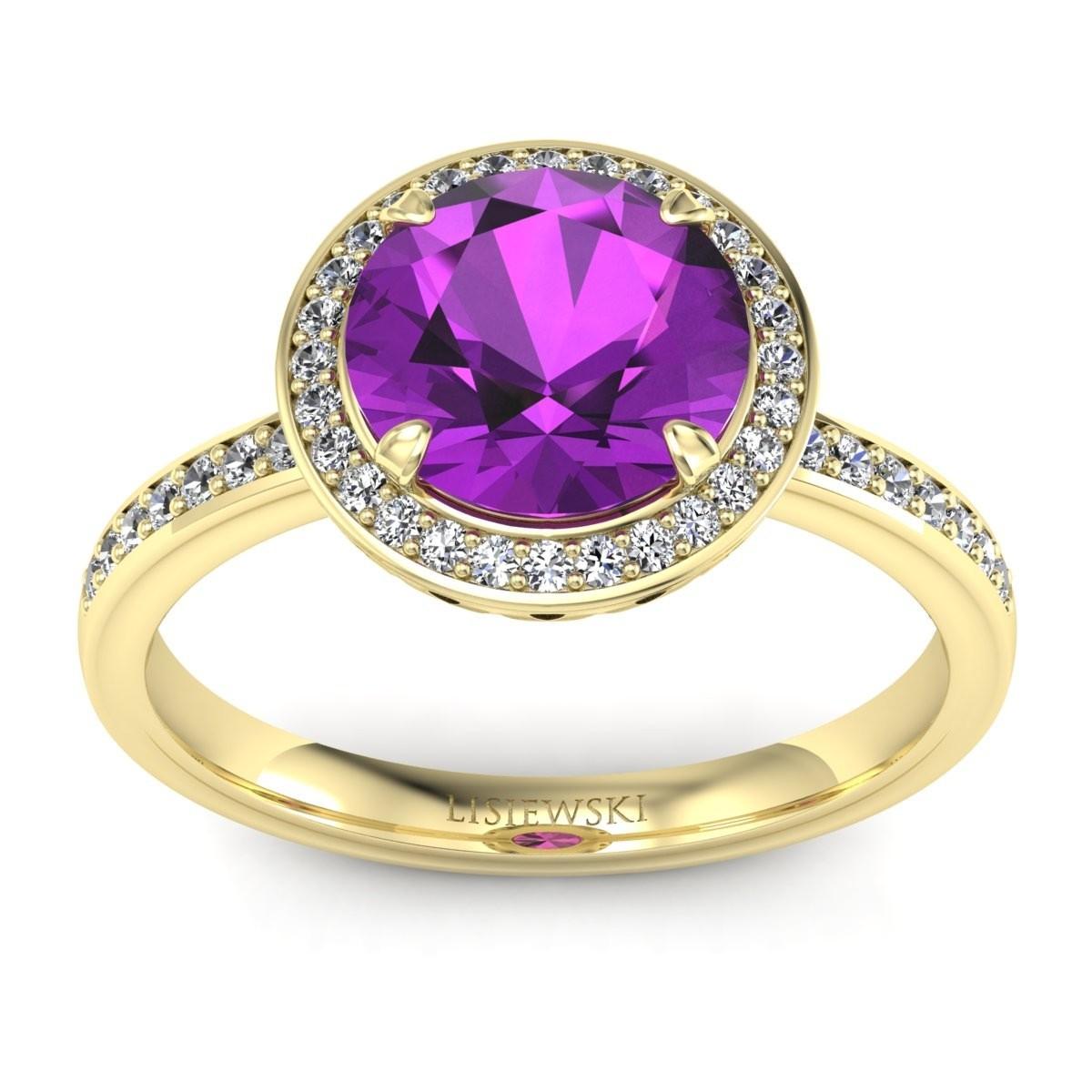 Manhattan - Złoty pierścionek z ametystem i diamentami