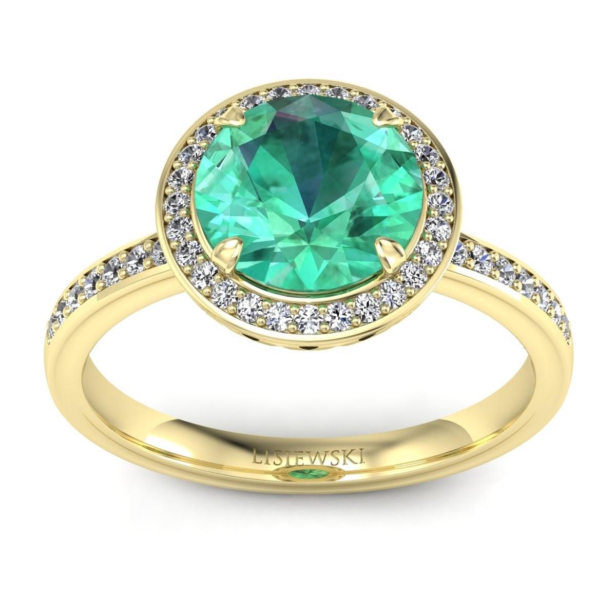 Manhattan - Złoty pierścionek ze szmaragdem i diamentami