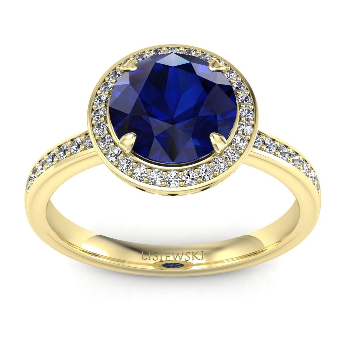 Manhattan - Złoty pierścionek z szafirem i diamentami
