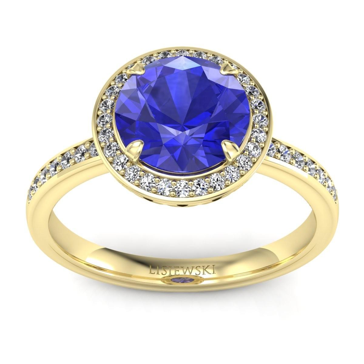 Manhattan - Złoty pierścionek z szafirem cejlońskim i diamentami