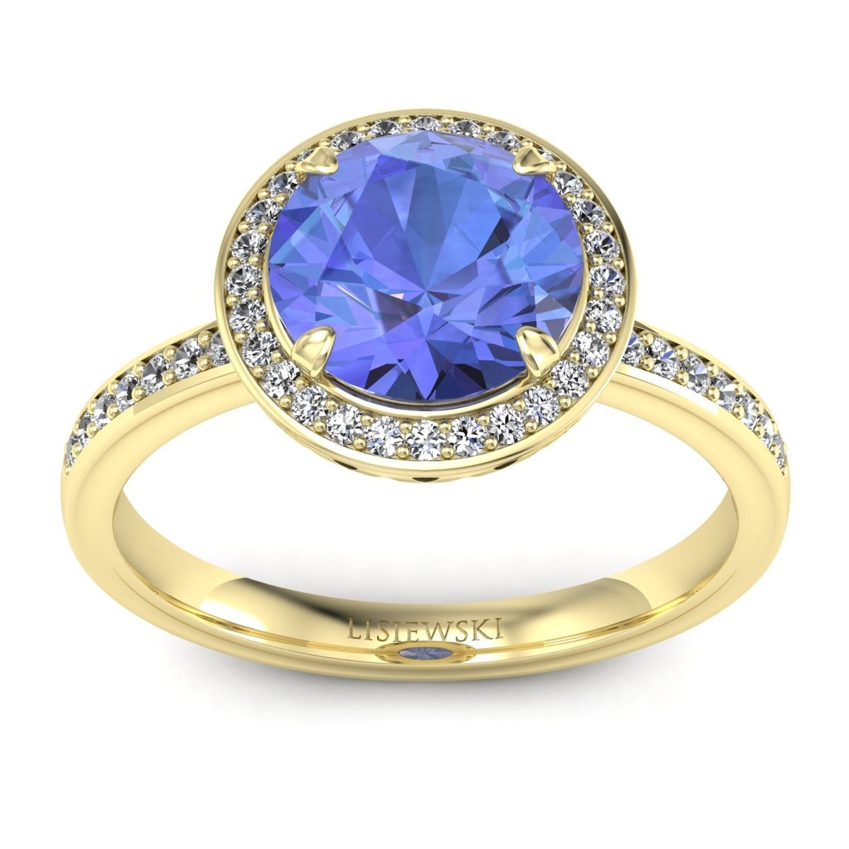 Manhattan - Złoty pierścionek z tanzanitem i diamentami