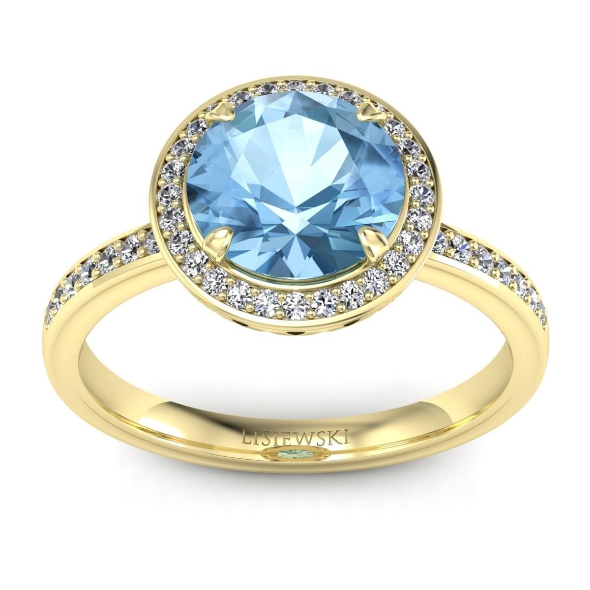Manhattan - Złoty pierścionek z topazem i diamentami