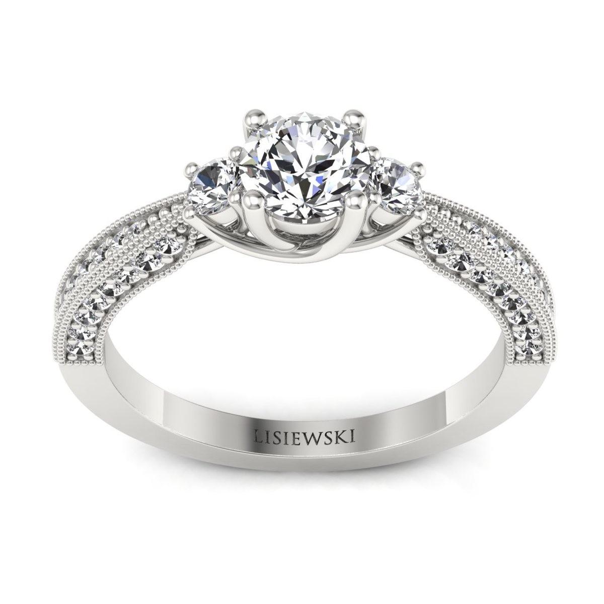 Melania - Białe złoto pierścionek z diamentami