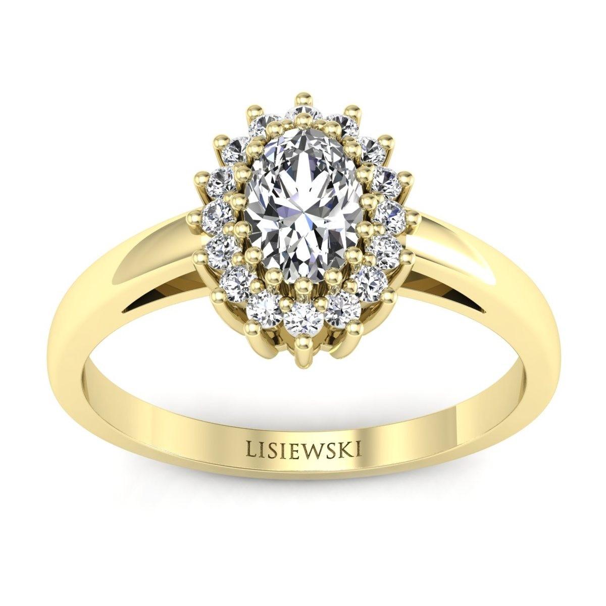London - Złoty pierścionek z diamentami