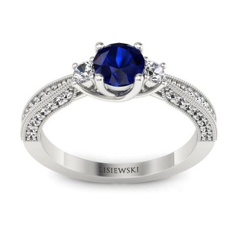 Melania - Złoty pierścionek z szafirem i diamentami