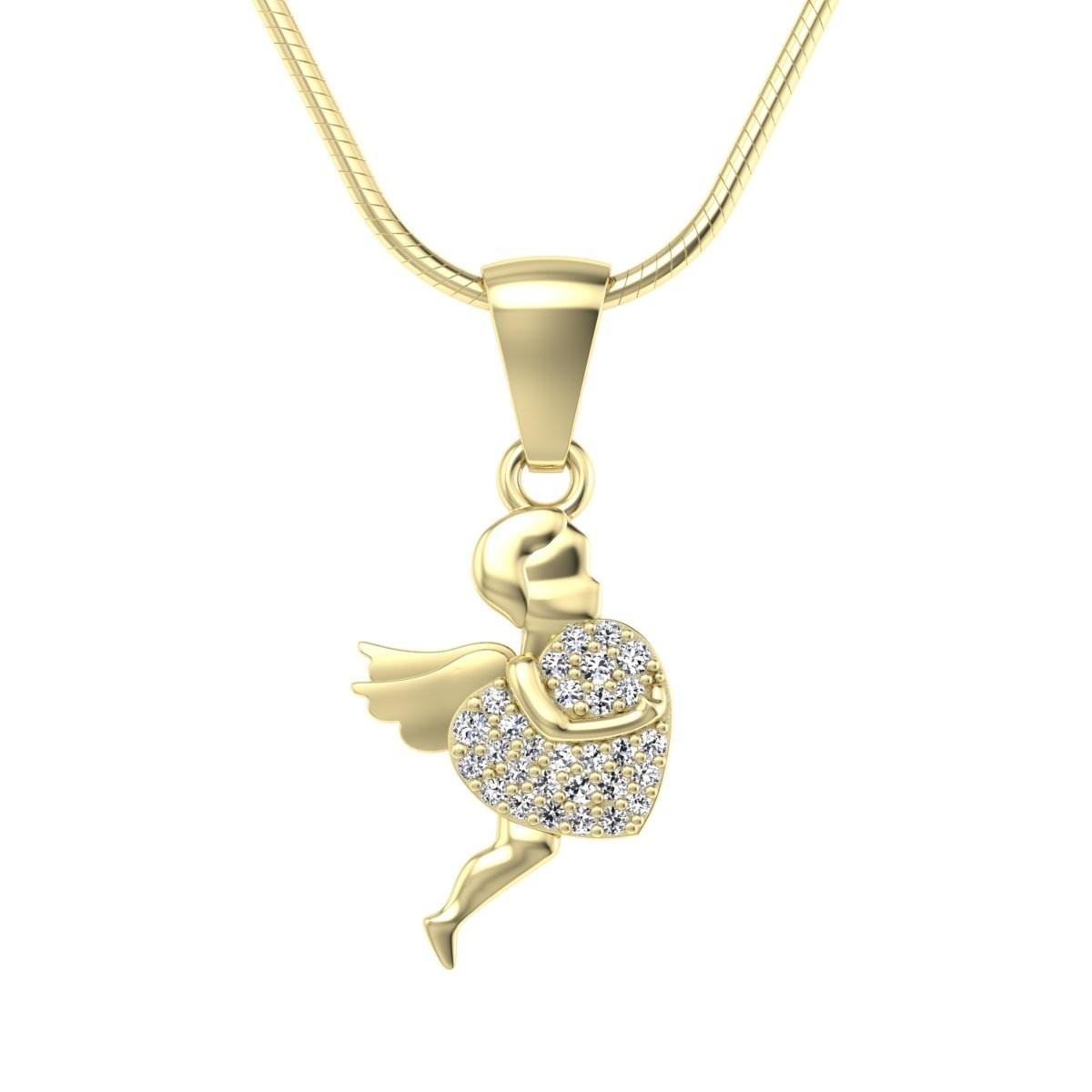 Złoty wisiorek love z diamentami