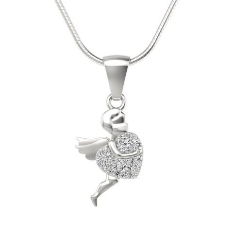 Wisiorek love z diamentami białe złoto