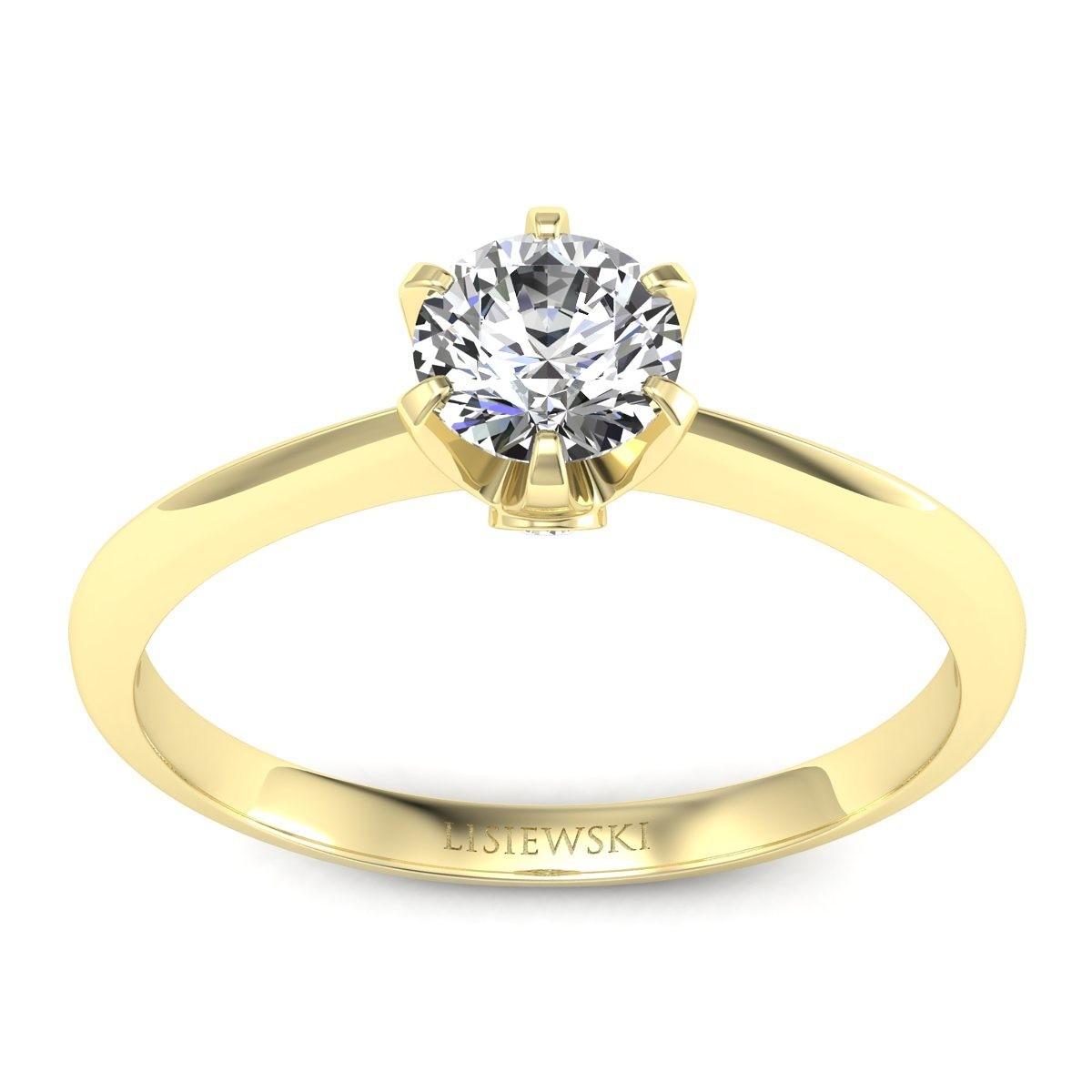 Solitaire - Złoty pierścionek z brylantami