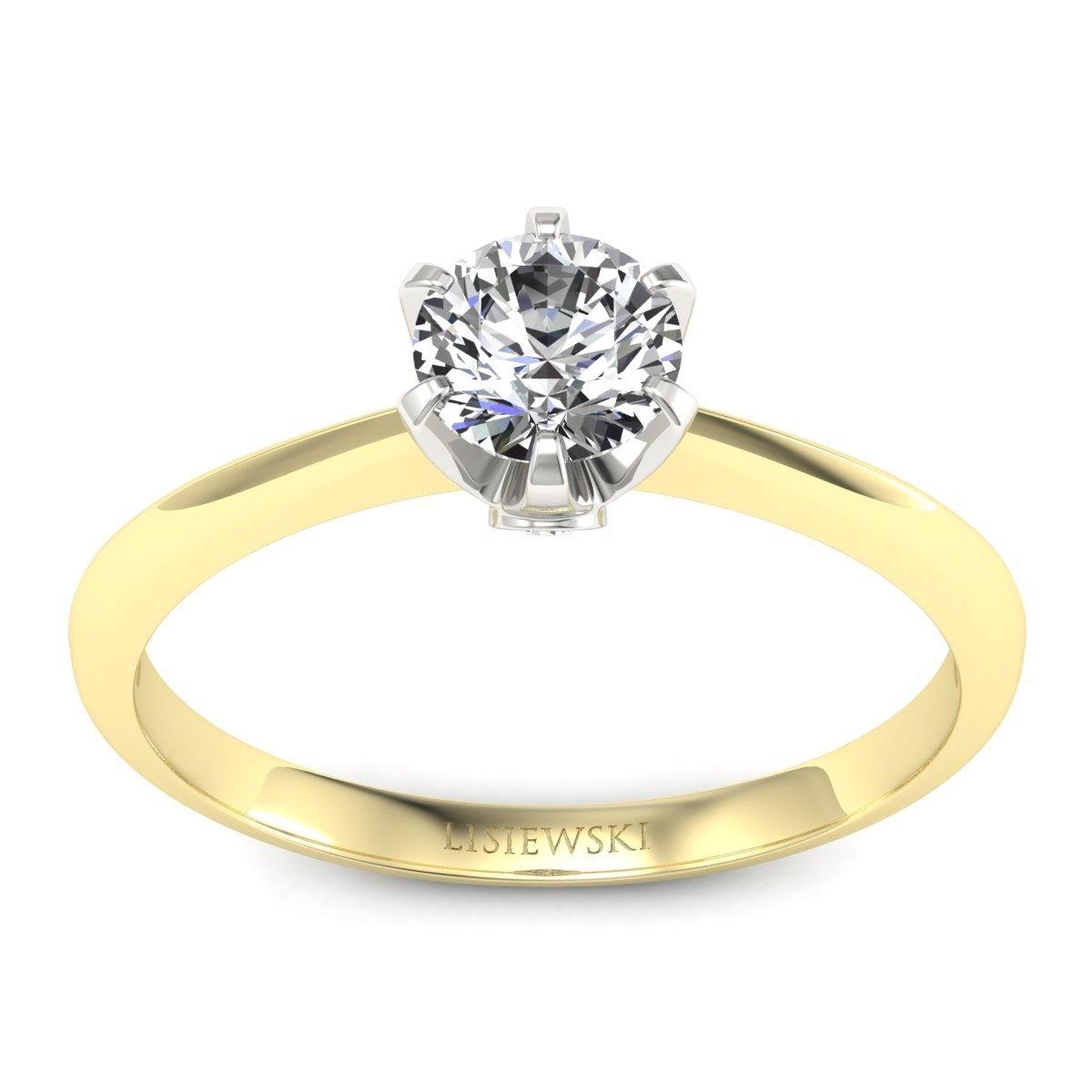 Solitaire - pierścionek złoty z brylantami