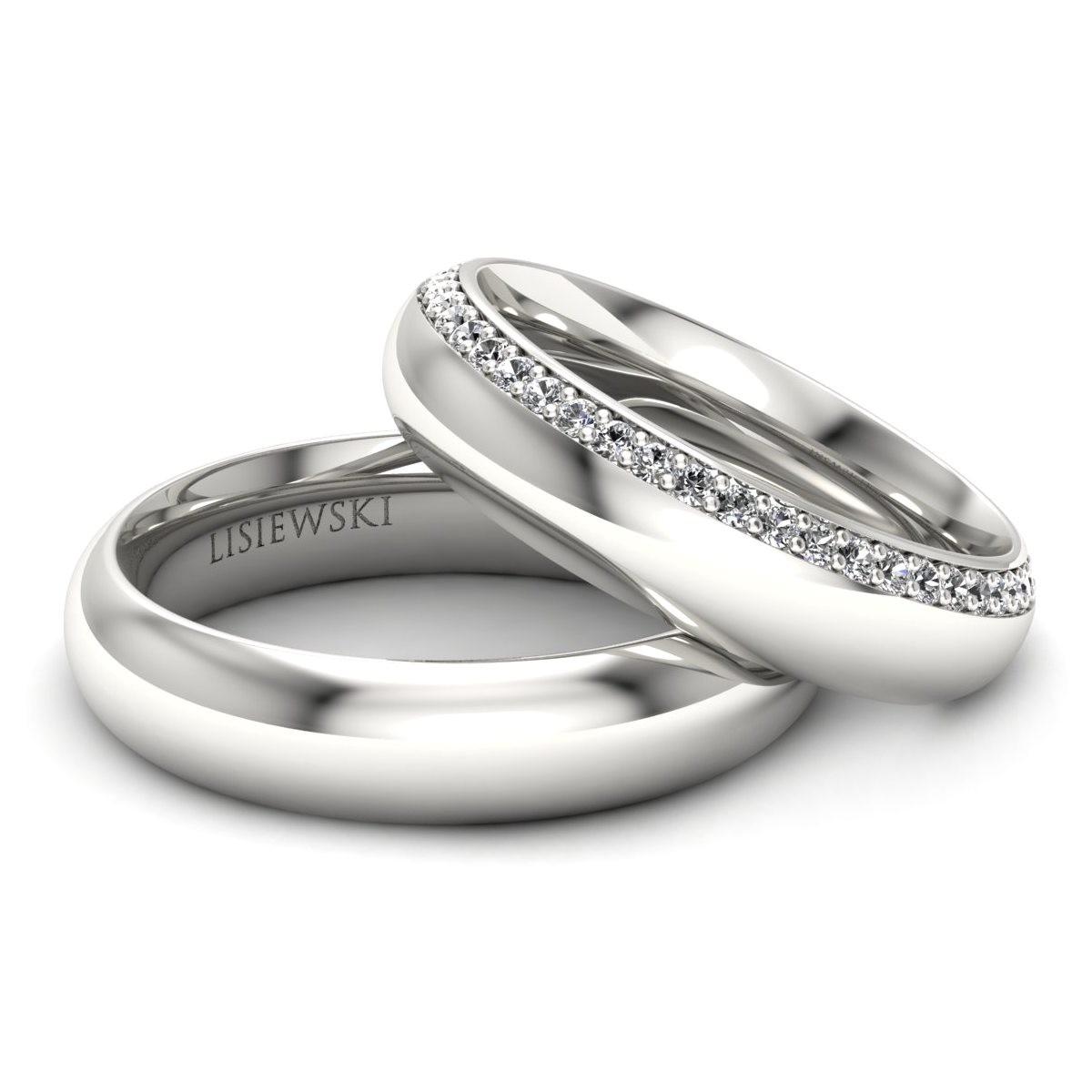 Louvre - Platynowe obrączki ślubne z diamentami