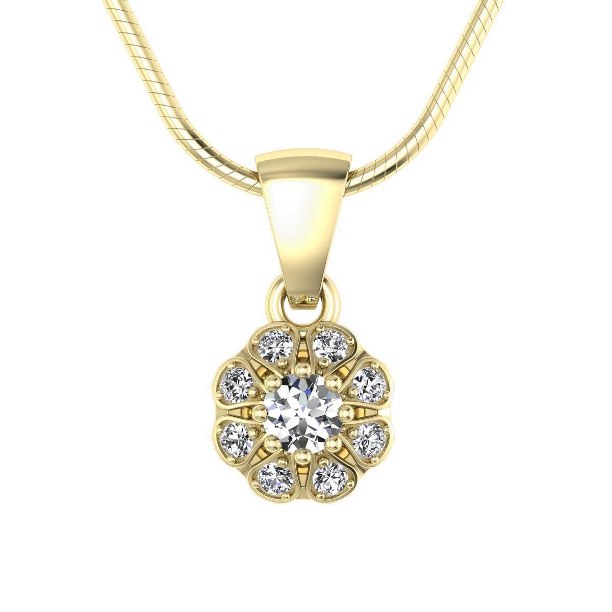 Scarlett - Wisiorek złoty z diamentami