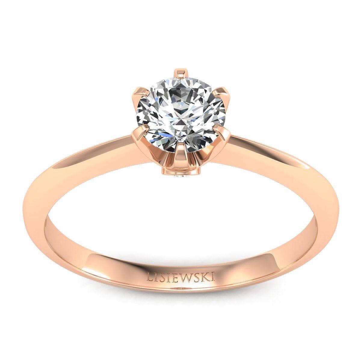 Solitaire - Pierścionek z diamentami różowe złoto