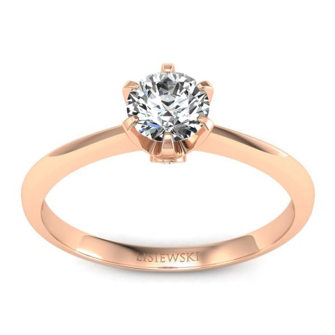 Solitaire - Różowe złoto pierścionek z diamentami