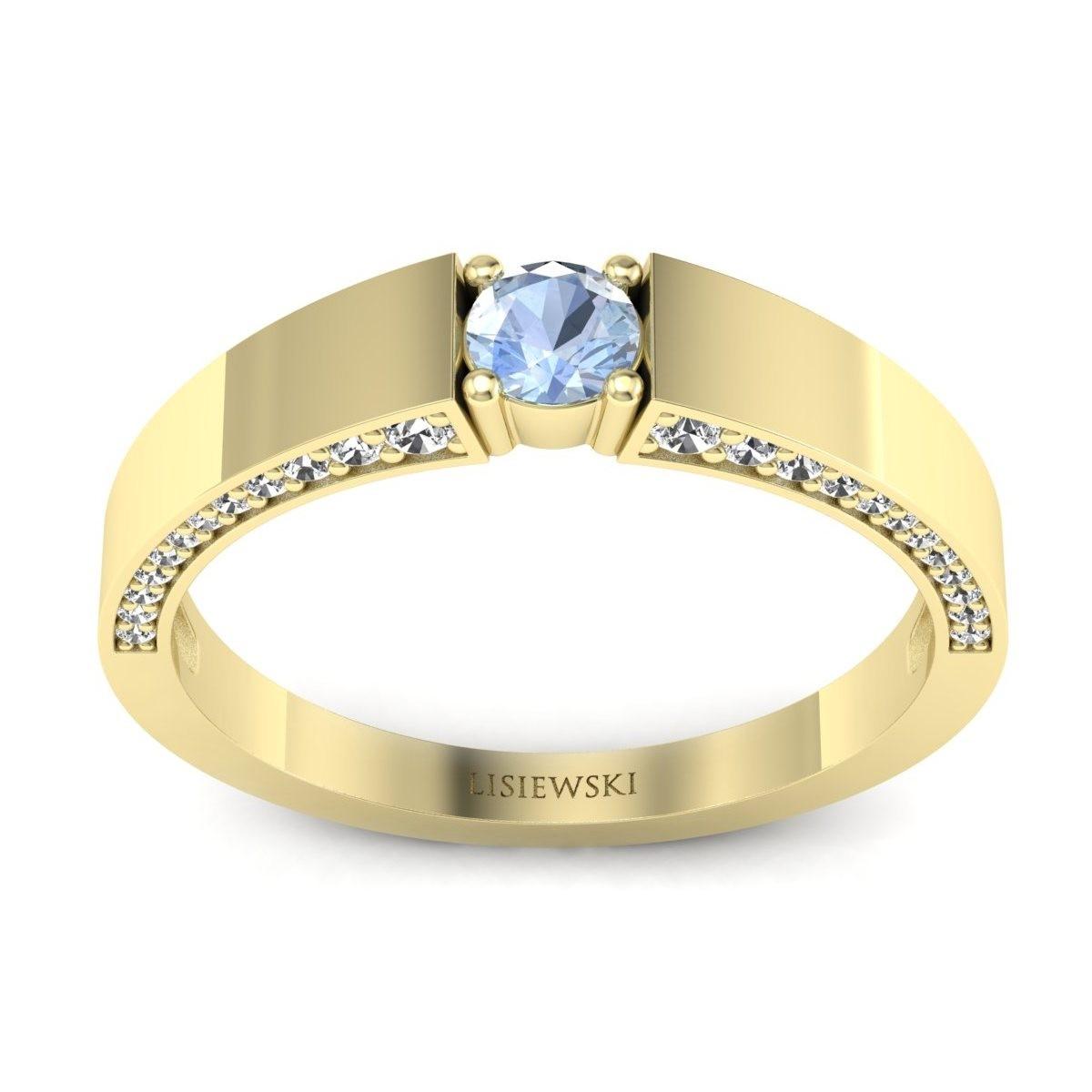 Verona - Złoty pierścionek z akwamarynem i diamentami