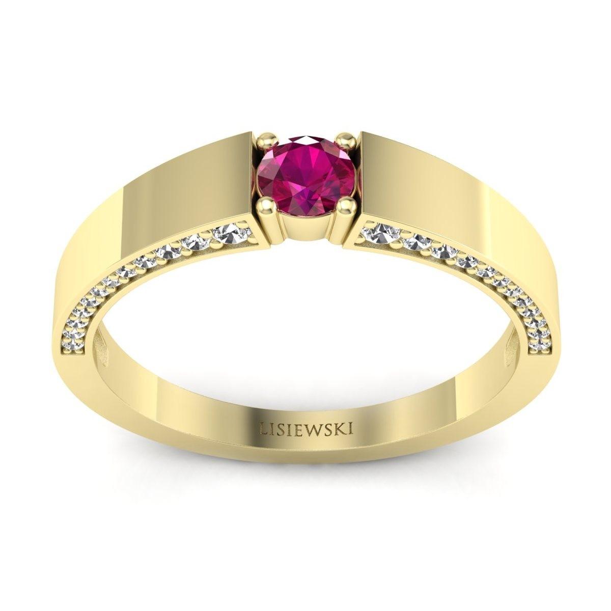 Verona - Pierścionek złoty z rubinem i diamentami