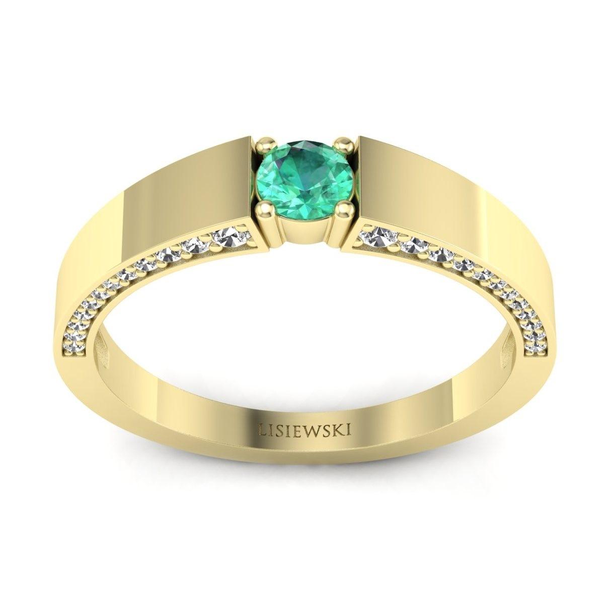 Verona - Złoty pierścionek ze szmaragdem i diamentami