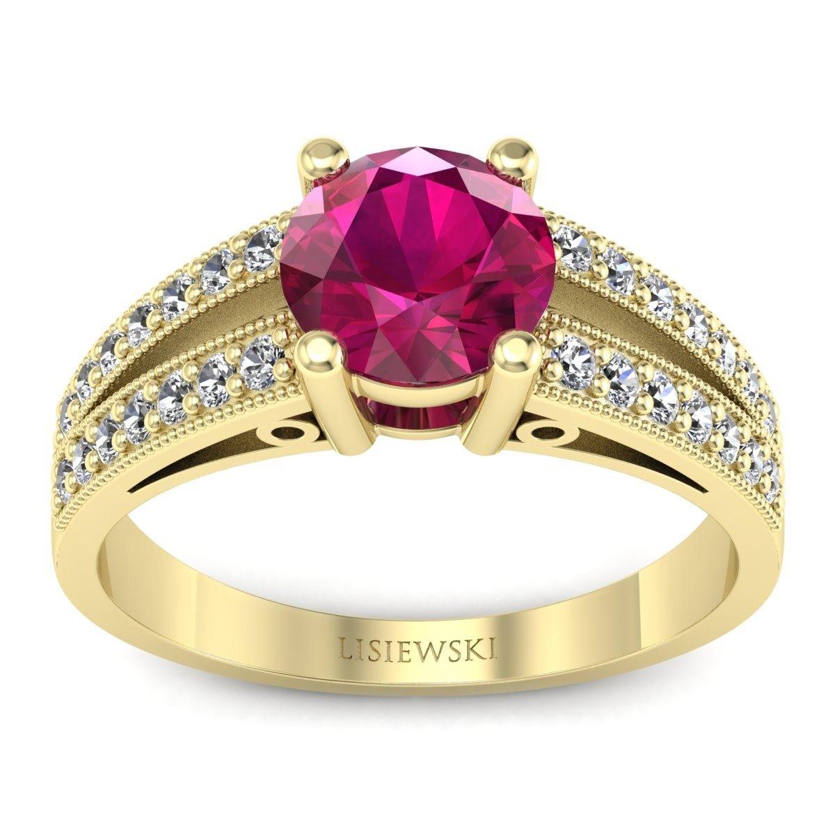 San Marino Złoty pierścionek z rubinem i diamentami