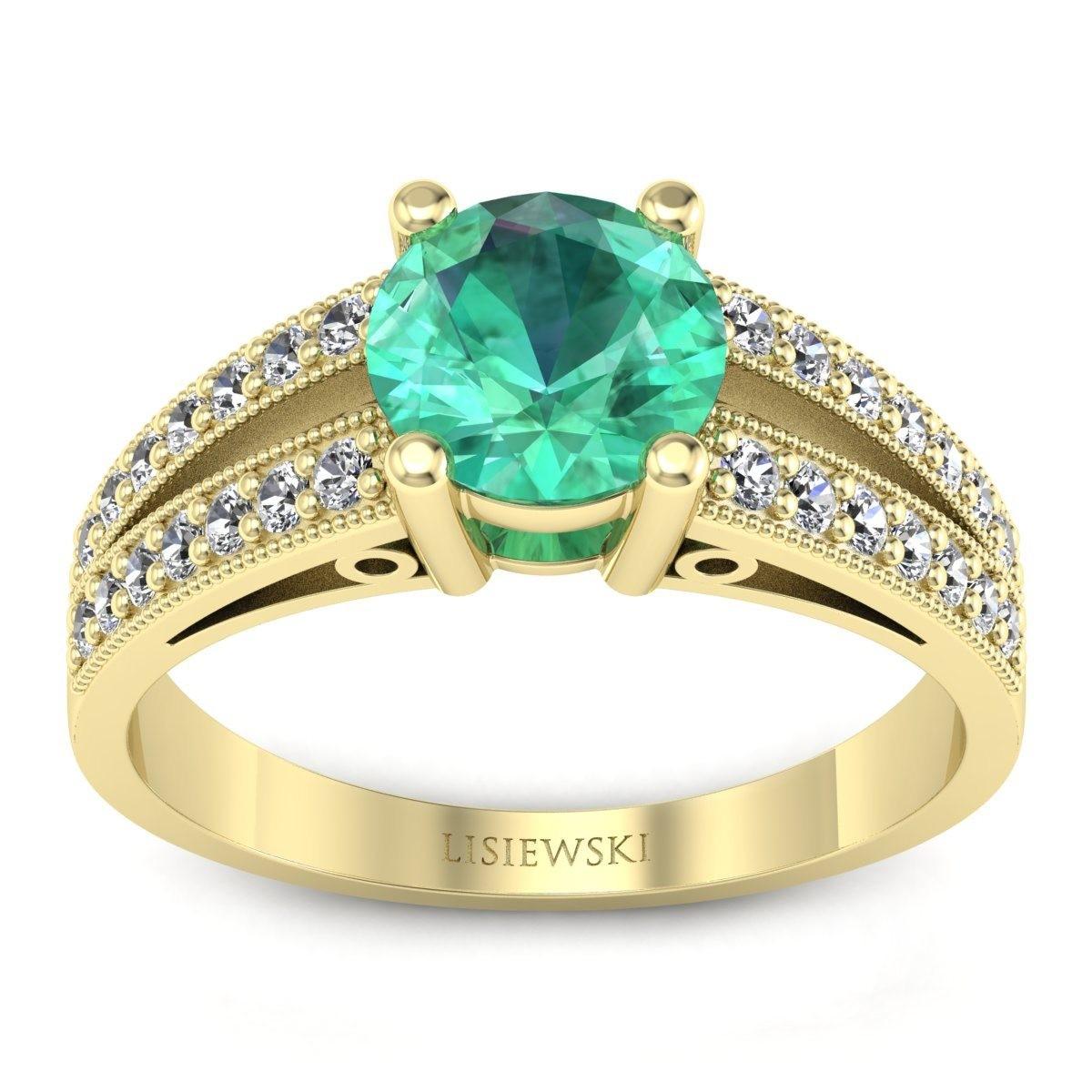 San Marino Złoty pierścionek ze szmaragdem i diamentami