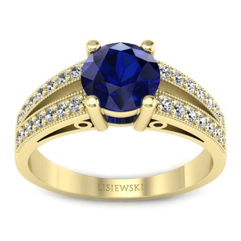 San Marino Złoty pierścionek z szafirem i diamentami