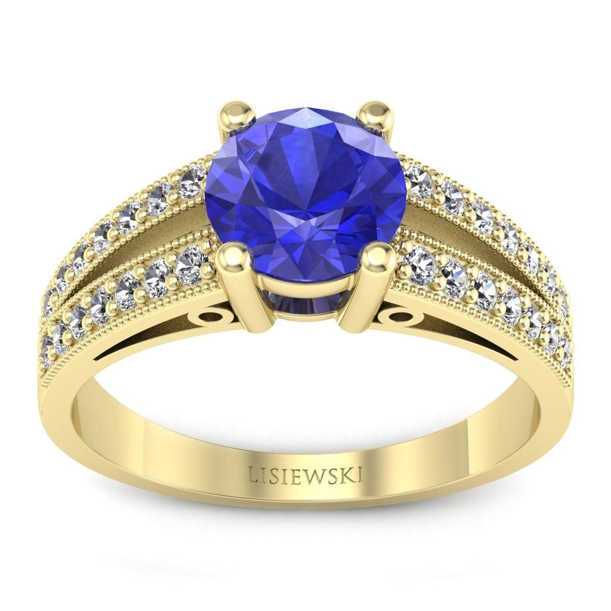 San Marino Złoty pierścionek z szafirem cejlońskim i diamentami