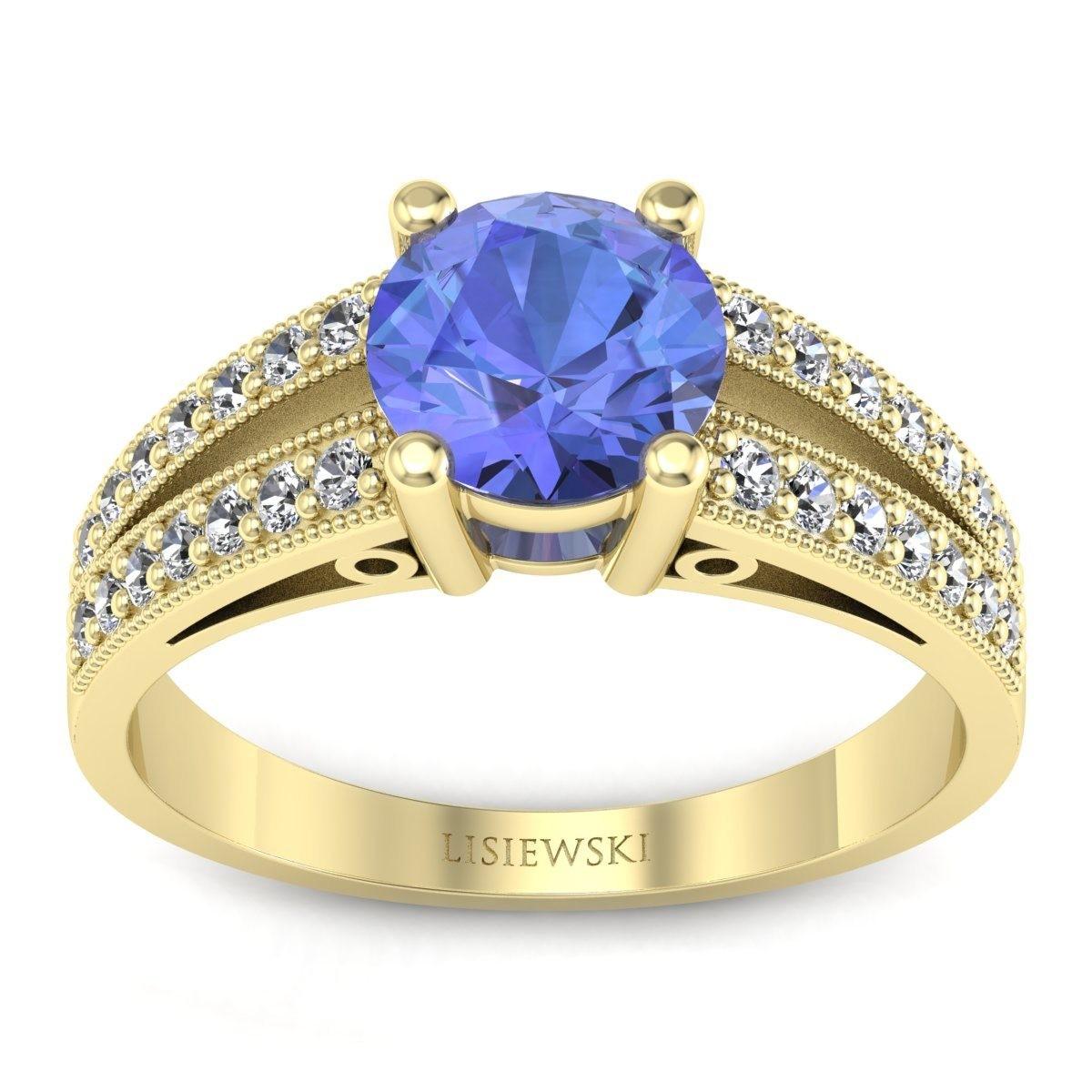 San Marino Złoty pierścionek z tanzanitem i diamentami
