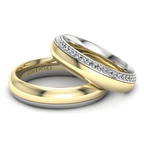 Louvre - obrączki ślubne białe żółte złoto