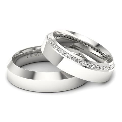 Amore - Obrączki ślubne z diamentami białe złoto