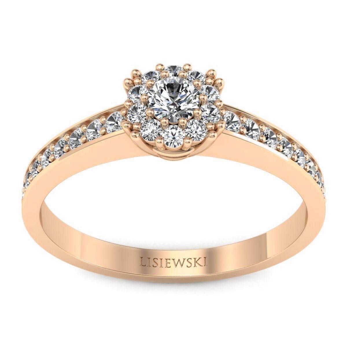 Vienna - Różowe złoto pierścionek z diamentami