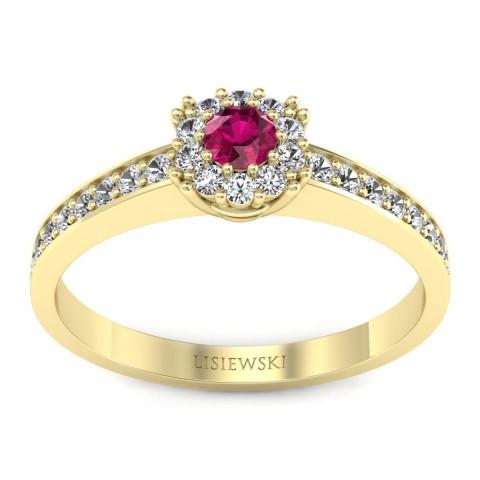 Vienna - Złoty pierścionek z rubinem i diamentami