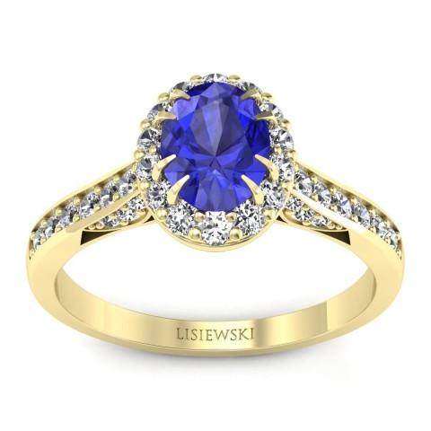Caroline - Złoty pierścionek szafir cejloński i diamenty