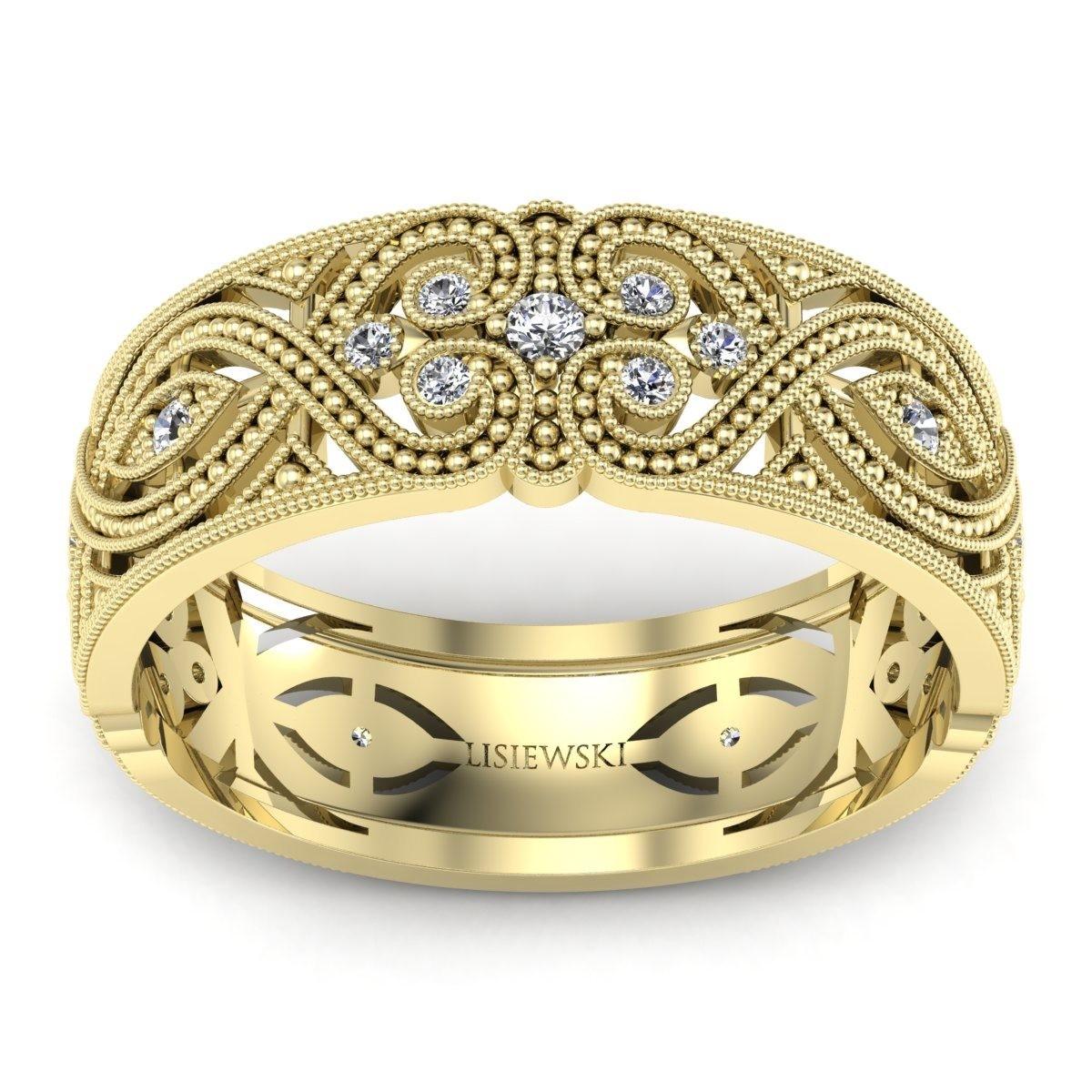 Royal - Obrączka ślubna z diamentami żółte złoto