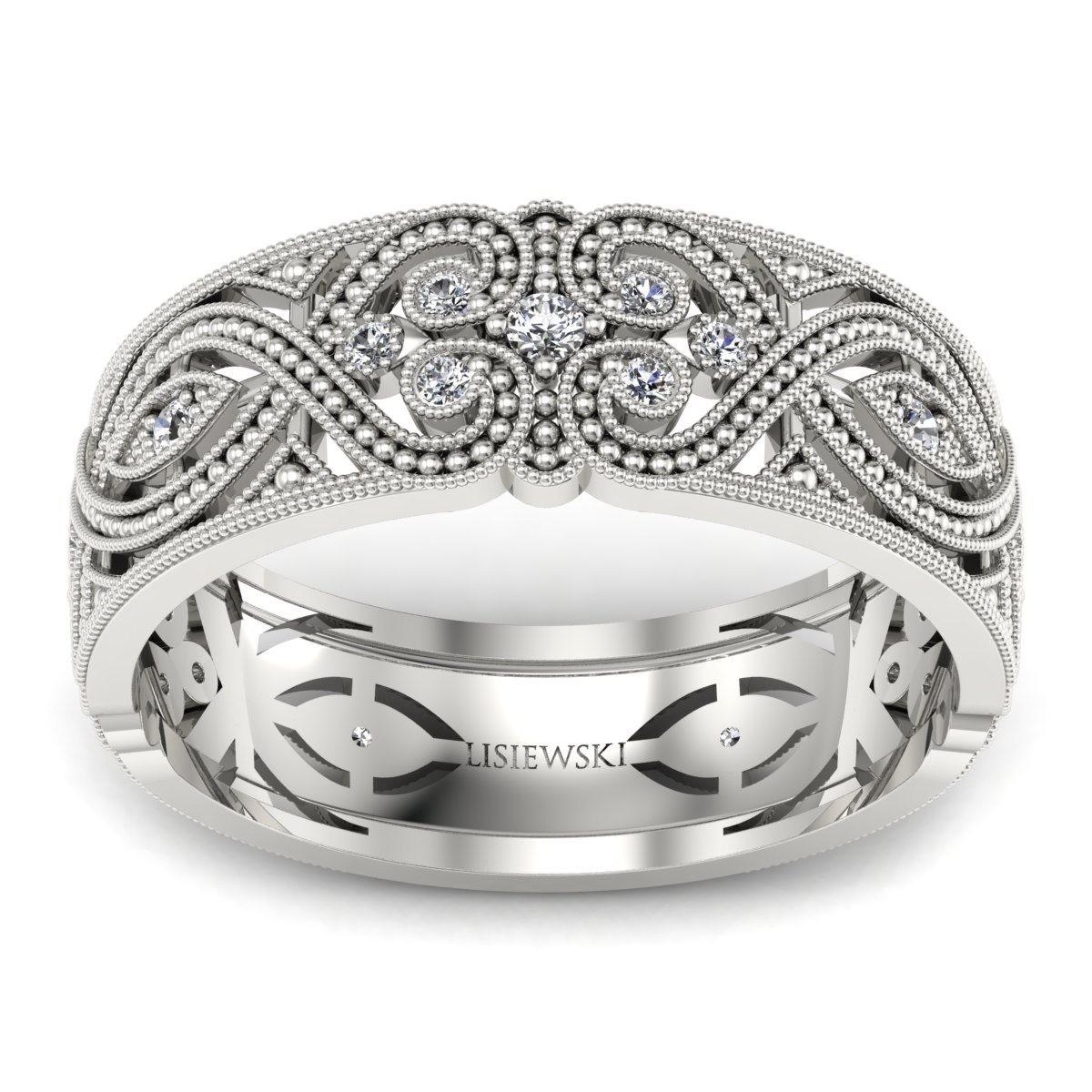 Royal - Obrączka ślubna z diamentami białe złoto