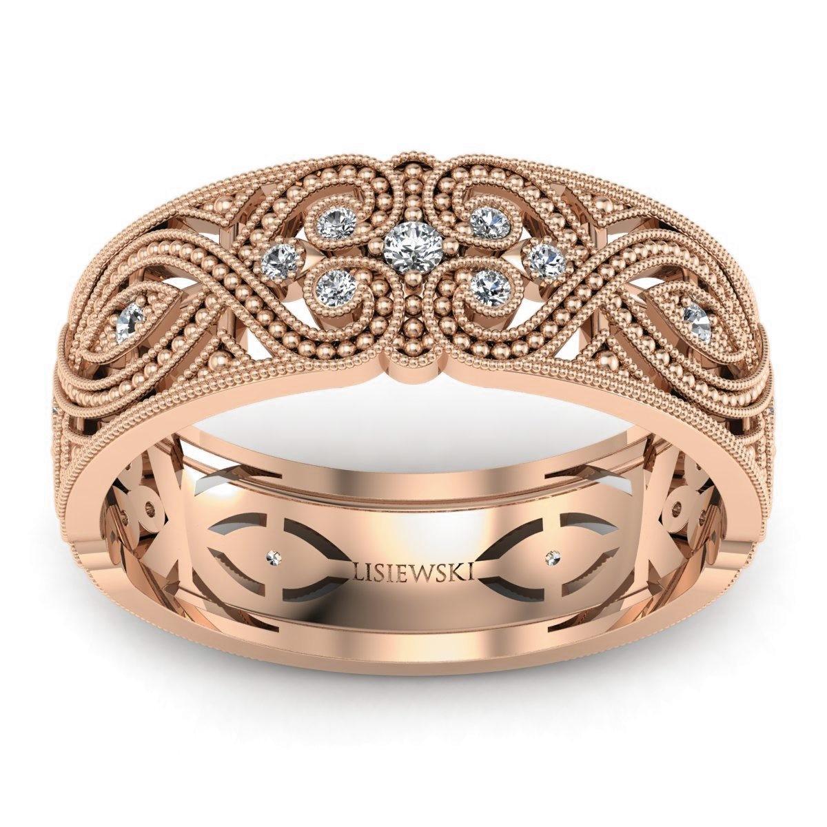 Royal - Obrączka ślubna z diamentami różowe złoto