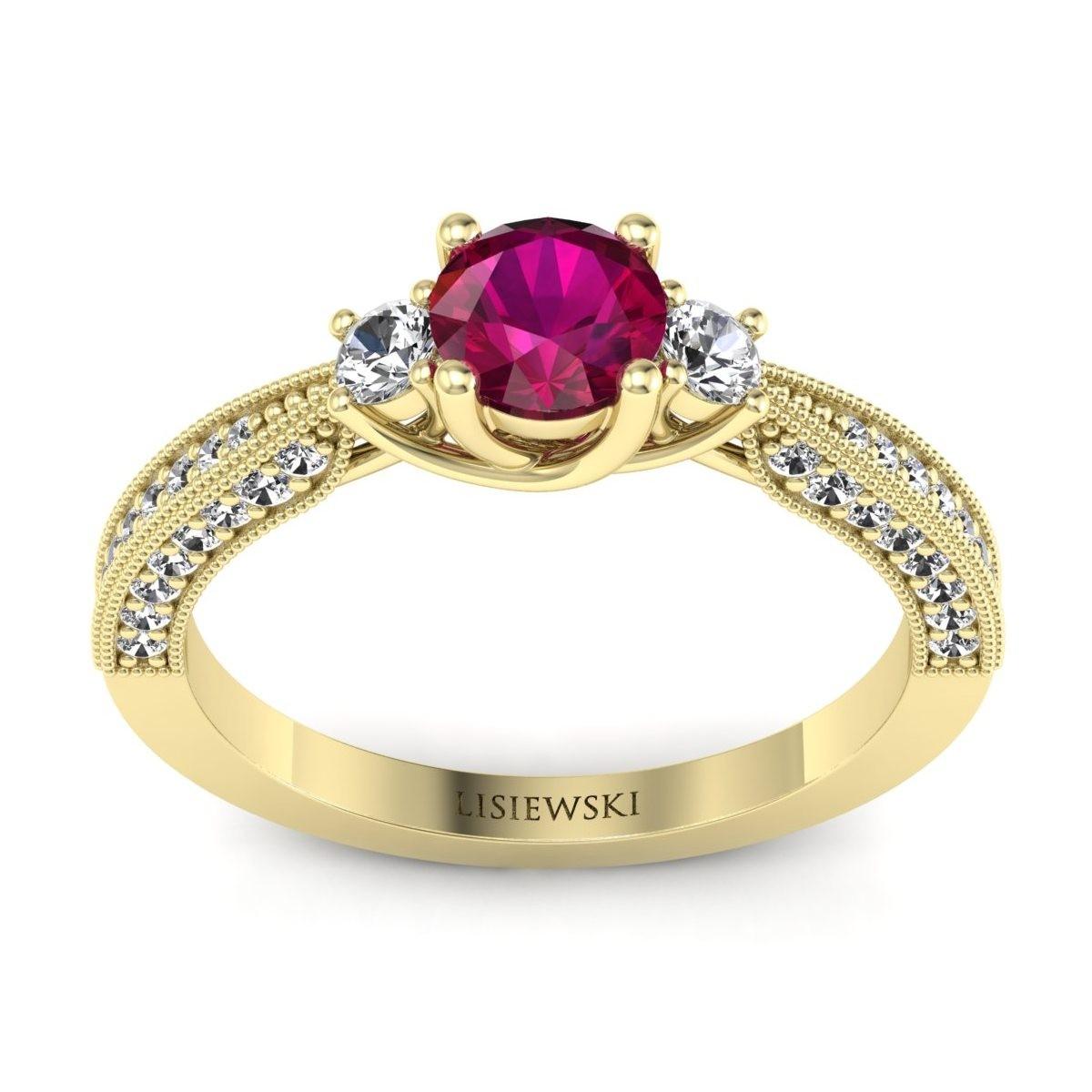 Melania - Złoty pierścionek z rubinem i diamentami