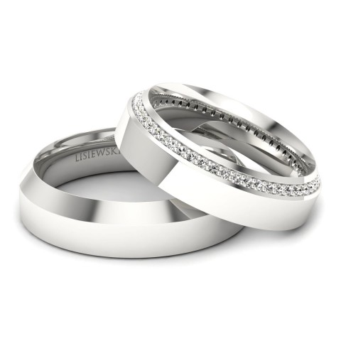Amore - Platynowe obrączki ślubne z diamentami