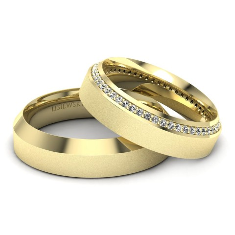 Amore - Obrączki ślubne złote z diamentami