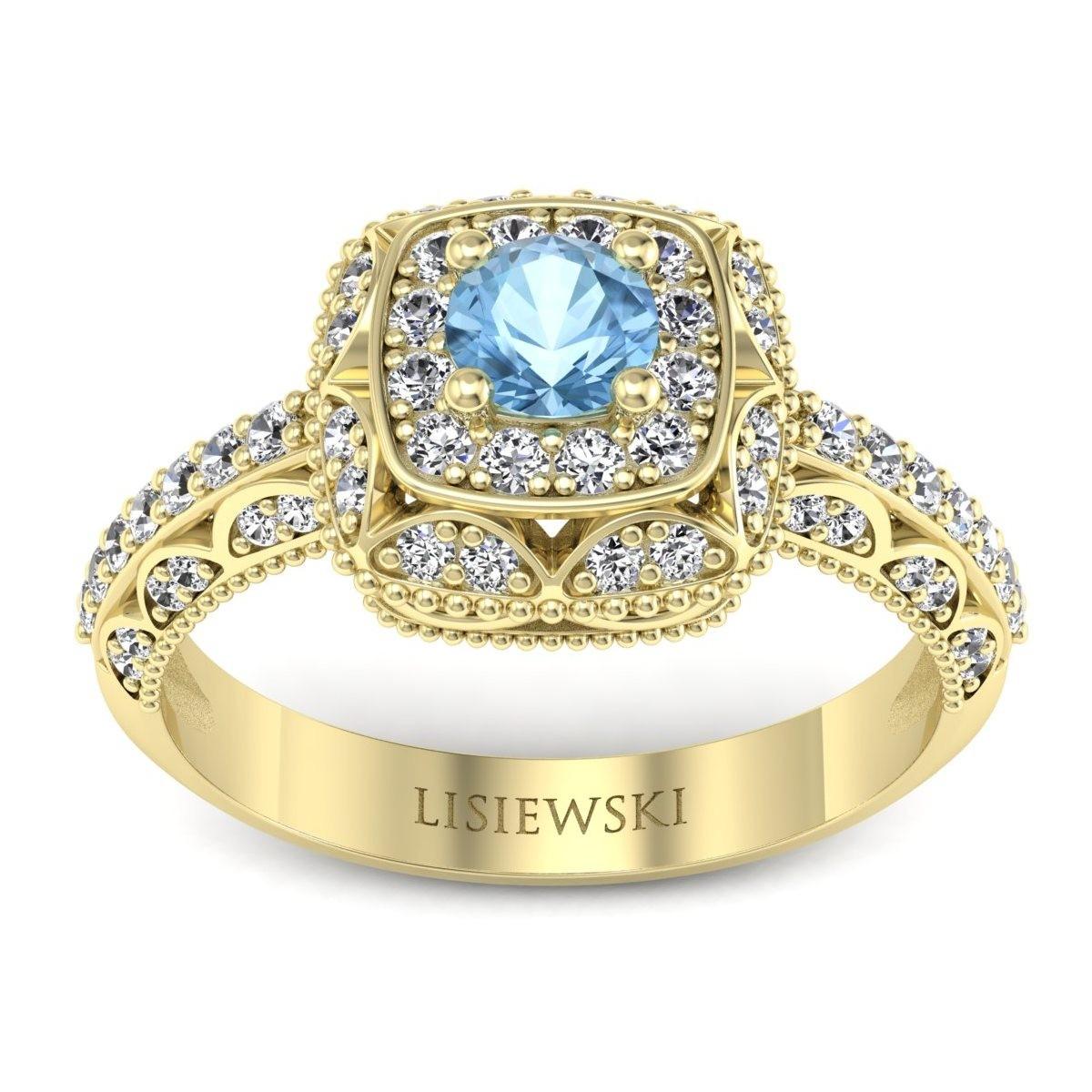 Elizabeth - Pierścionek złoty z topazem i diamentami