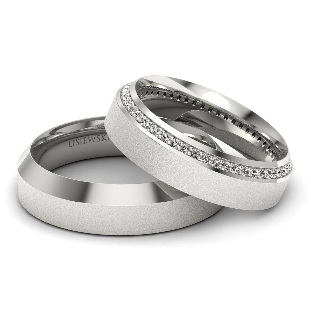 Amore - Obrączki ślubne białe złoto z diamentami